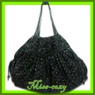 THAI SILK SHOULDER HAND BAG BLACK FLORAL VELVET HOBO HIPPIE / B126