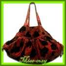 THAI SILK SHOULDER HAND BAG BURGUNDY BIG FLORAL HOBO / B116
