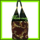 THAI SILK SHOULDER BAG BURGUNDY EMBROIDERED HOBO / B149