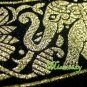 2 THAI SILK CUSHION PILLOW COVER ELEPHANT BLACK TWO-TONE / 1129