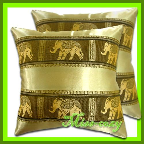 2 THAI SILK CUSHION THROW PILLOW COVER ELEPHANT GOLD / 1134
