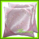 2 THAI SILK CUSHION CASE PILLOW COVER PINK FLOWER EMBROIDERED / 1139