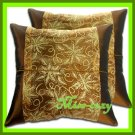 2 THAI SILK CUSHION CASE PILLOW COVER BROWN FLORAL / 1211