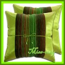 2 THAI SILK CUSHION PILLOW COVER GREEN TWO-TONE 1216