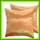 2 THAI SILK THROW CUSHION CASE PILLOW COVER ORANGE / 1124