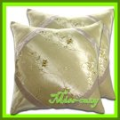 2 THAI SILK THROW CUSHION CASE PILLOW COVER BEIGE / 1141