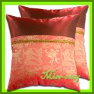 2 THAI SILK THROW CUSHION CASE PILLOW COVER RED-ORANGE / 1147