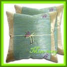 2 THAI SILK CUSHION CASE PILLOW COVER BEIGE FLORAL / 1152