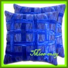 2 THAI SILK CUSHION CASE PILLOW COVER BLUE RIBBON / 1166