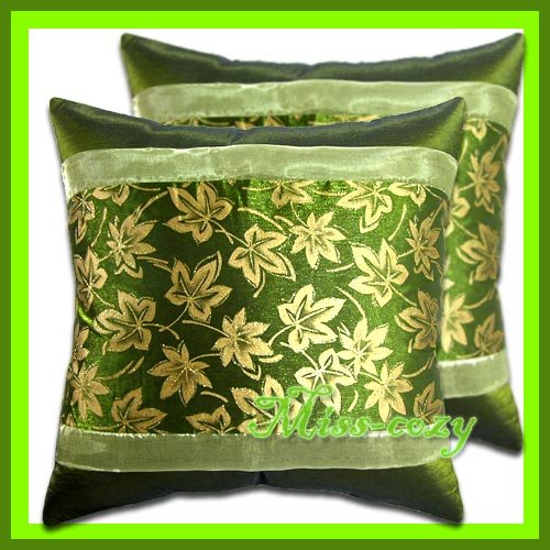 2 THAI SILK CUSHION PILLOW COVER GREEN/GOLD FLORAL / 1172
