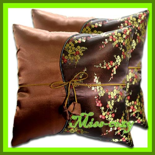 2 THAI SILK BROWN CHINESE CUSHION PILLOW COVER / 1176