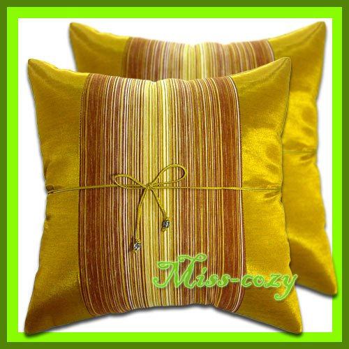 2 THAI SILK THROW CUSHION CASE PILLOW COVER GOLD / 1218