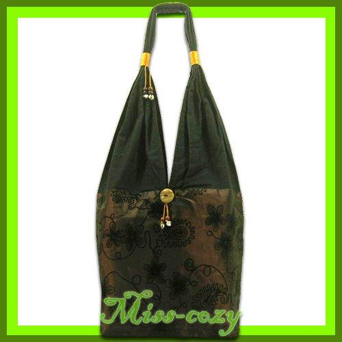 THAI SILK HANDBAG SHOULDER BAG HOBO BROWN TOTE HIPPIE / B133