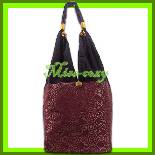 THAI SILK HANDBAG SHOULDER BAG HOBO MAROON-GOLD TOTE / B136