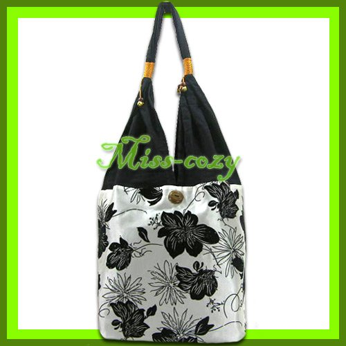 THAI SILK SHOULDER BAG HANDBAG WHITE BIG FLORAL TOTE HOBO / B143