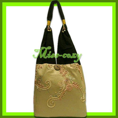 THAI SILK SHOULDER BAG HANDBAG GOLD EMBROIDERED TOTE HOBO / B148