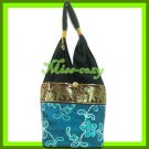 THAI SILK SHOULDER BAG HOBO TURQUOISE EMBROIDERED TOTE HANDBAG / B165