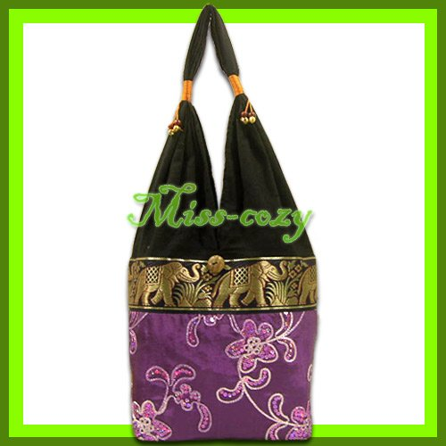 THAI SILK SHOULDER BAG HOBO PURPLE EMBROIDERED TOTE / B169