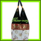 THAI SILK SHOULDER BAG HOBO WHITE LOTUS EMBROIDER TOTE / B171