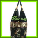 THAI SILK SHOULDER BAG HOBO BLACK LOTUS EMBROIDER HANDBAG / B173