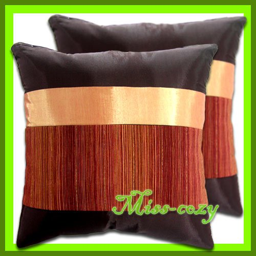 2 THAI SILK CUSHION CASE PILLOW COVER BROWN/GOLD / 1187
