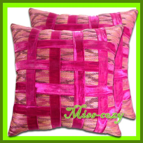 2 THAI SILK CUSHION CASE PILLOW COVER PINK RIBBON / 1168