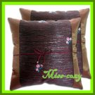 2 THAI SILK CUSHION CASE PILLOW COVER BROWN FLORAL / 1155