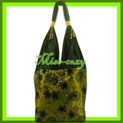 THAI SILK HANDBAG SHOULDER BAG HOBO GOLD TOTE HIPPIE / B135