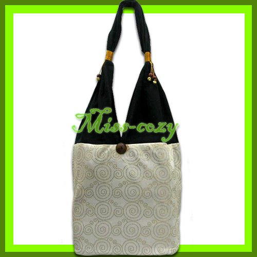 THAI SILK HANDBAG SHOULDER BAG HOBO WHITE GOLD TOTE / B137