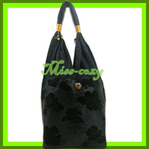 THAI SILK SHOULDER BAG HANDBAG HOBO BLACK BIG FLORAL TOTE / B146