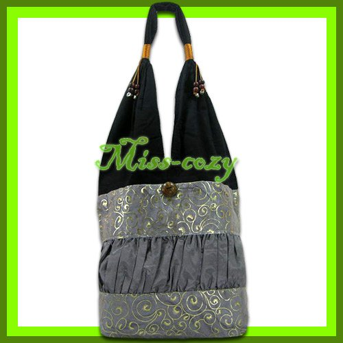 THAI SILK HANDBAG SHOULDER BAG HOBO GRAY GOLD TOTE / B158