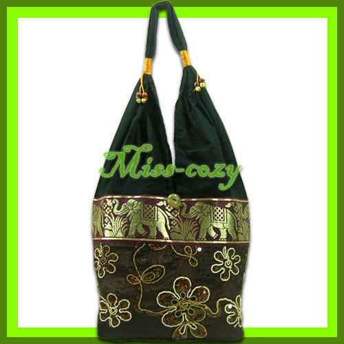 THAI SILK SHOULDER BAG HOBO BROWN EMBROIDERED TOTE / B164