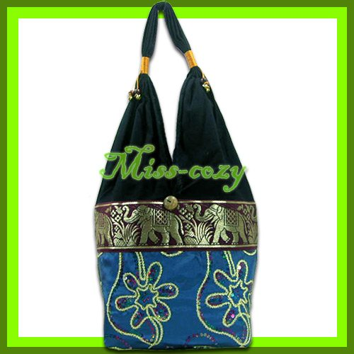 THAI SILK SHOULDER BAG HANDBAG HOBO AQUA EMBROIDERED TOTE / B166