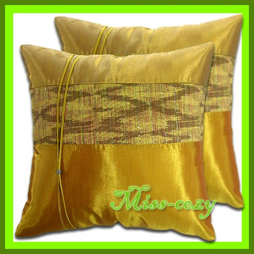 2 THAI SILK THROW CUSHION CASE PILLOW COVER GOLD / 1204