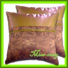 2 THAI SILK CUSHION CASE PILLOW COVER PINK-BROWN TWO-TONE / 1143