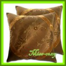 2 THAI SILK CUSHION CASE PILLOW COVER BROWN FLORAL / 1138