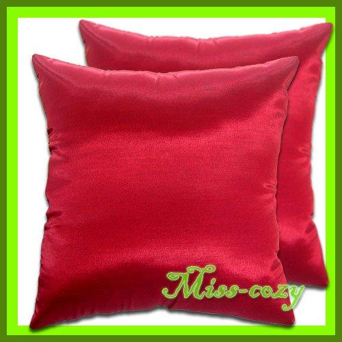 2 THAI SILK THROW CUSHION CASE PILLOW COVER RED SHEEN / 1125