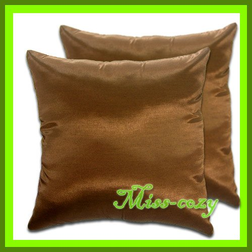 2 THAI SILK THROW CUSHION CASE PILLOW COVER BROWN / 1122