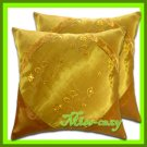 2 THAI SILK CUSHION CASE PILLOW COVER GOLD FLORAL / 1140