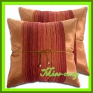 2 THAI SILK CUSHION CASE THROW PILLOW COVER BROWN / 1224