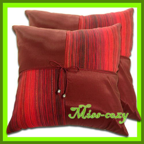 2 THAI SILK THROW CUSHION CASE PILLOW COVER MAROON / 1116