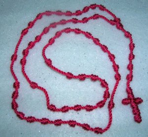 Hot Pink Knot Rosary - Handmade of Nylon Cord