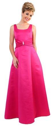Floor Length 2 Strap Fuchsia Bridesmaid Dress Fuchsia Formal Gown | DiscountDressShop.com 1907CD