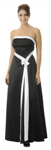 Strapless Black White Bridesmaid Dress Formal Dress Bow Wedding Gown | DiscountDressShop.com 2554PO