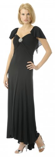 Cheap Tea Length Formal Black Bridesmaid Dress Gown With Cap Sleeve | DiscountDressShop.com 2922PO