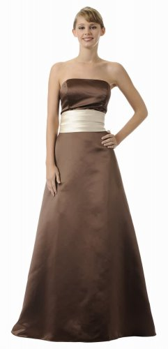 Brown Formal Dress Plus Size Strapless Champagne Wrap Bridesmaid | DiscountDressShop.com 2930PO