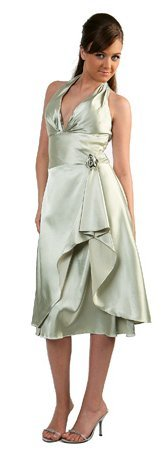 Cheap Sage Bridesmaid Dress Sage Knee Length Halter Satin On Sale | DiscountDressShop.com 803CD