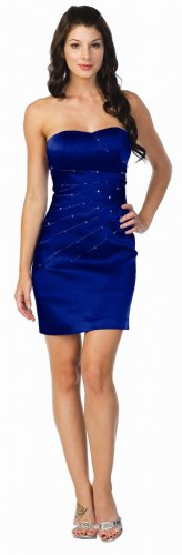 Royal Blue Cocktail Dress Strapless Sexy Short Blue Dress | DiscountDressShop.com 2159NX