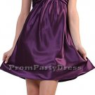 Eggplant Cocktail Dress Cheap Short Above Knee Satin Eggplant Prom | DiscountDressShop.com 0215CD