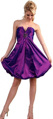 Purple Cocktail Dress Cheap Satin Purple Bubble Strapless Prom dress | DiscountDressShop.com 044CD
